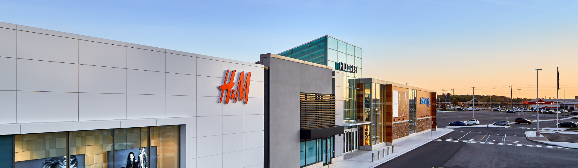 Exterior shot of Hillcrest with the H&M sign